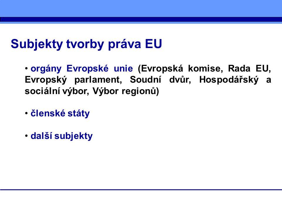 Subjekty tvorby práva EU orgány Evropské unie (Evropská komise, Rada EU, Evropský parlament, Soudní dvůr, Hospodářský a sociální výbor, Výbor regionů)