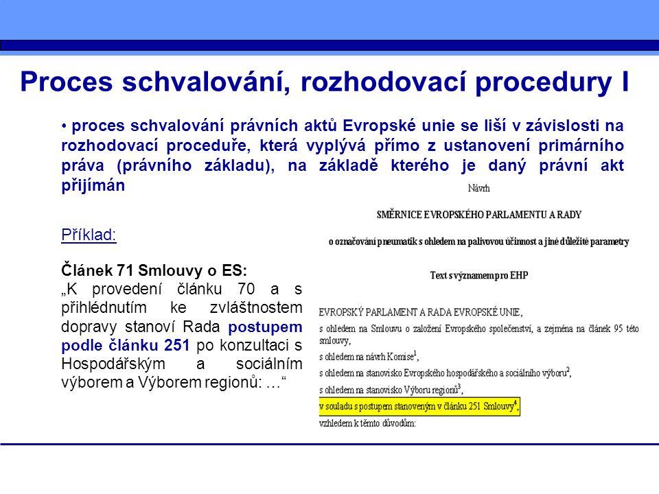 Proces schvalování, rozhodovací procedury II - - současný stav: V současné době rozlišujeme čtyři základní rozhodovací procedury (postupy, řízení): 1)procedura konzultace 2)procedura souhlasu 3)procedura spolupráce – čl.