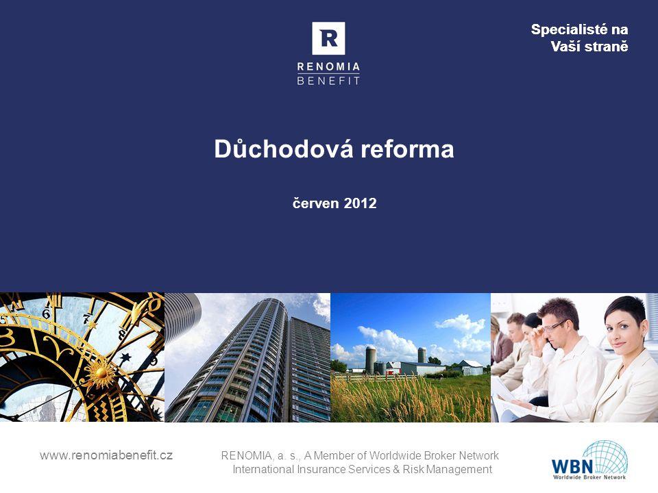 Specialisté na Vaší straně www.renomiabenefit.cz RENOMIA, a. s., A Member of Worldwide Broker Network International Insurance Services & Risk Manageme