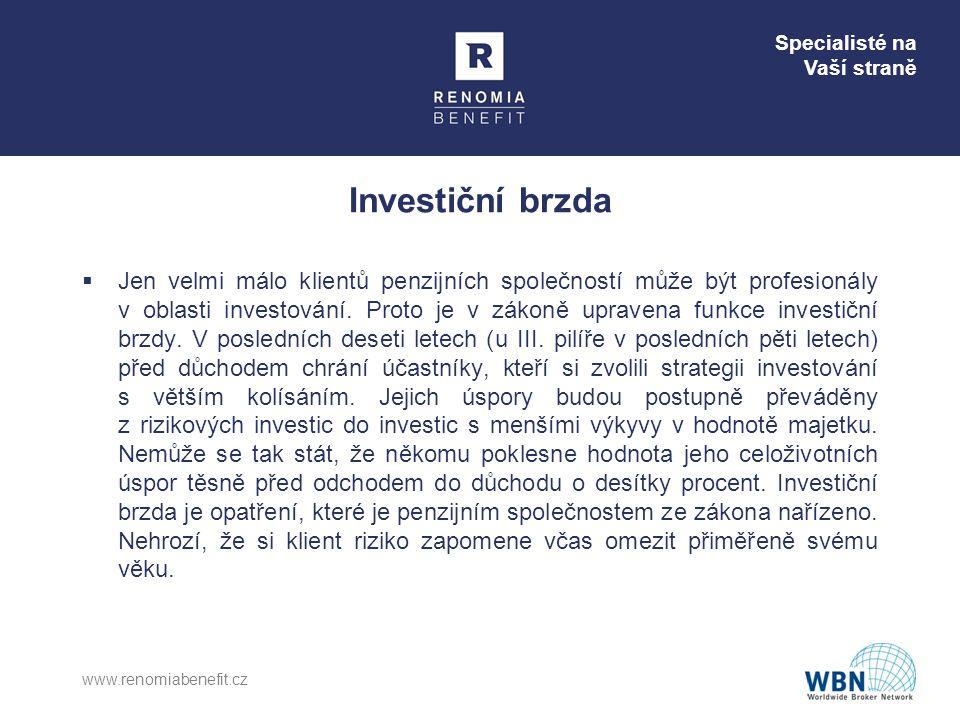 Specialisté na Vaší straně Investiční brzda  Jen velmi málo klientů penzijních společností může být profesionály v oblasti investování. Proto je v zá