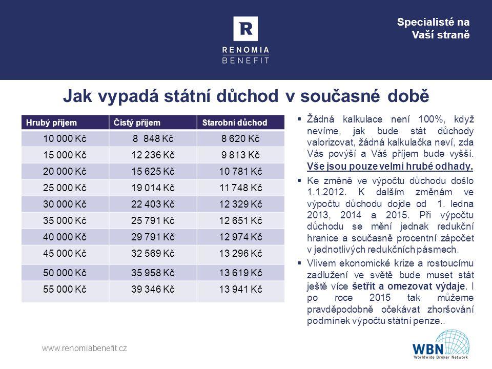 Specialisté na Vaší straně Jak vypadá státní důchod v současné době Hrubý příjemČistý příjemStarobní důchod 10 000 Kč8 848 Kč8 620 Kč 15 000 Kč12 236