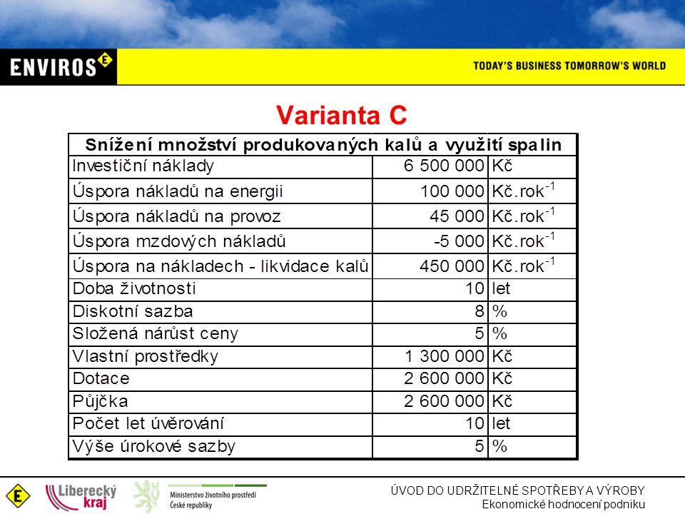 ÚVOD DO UDRŽITELNÉ SPOTŘEBY A VÝROBY Ekonomické hodnocení podniku Varianta C