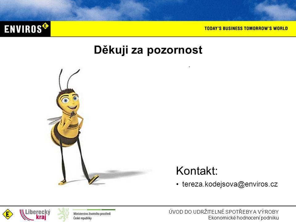 ÚVOD DO UDRŽITELNÉ SPOTŘEBY A VÝROBY Ekonomické hodnocení podniku Děkuji za pozornost Kontakt: tereza.kodejsova@enviros.cz