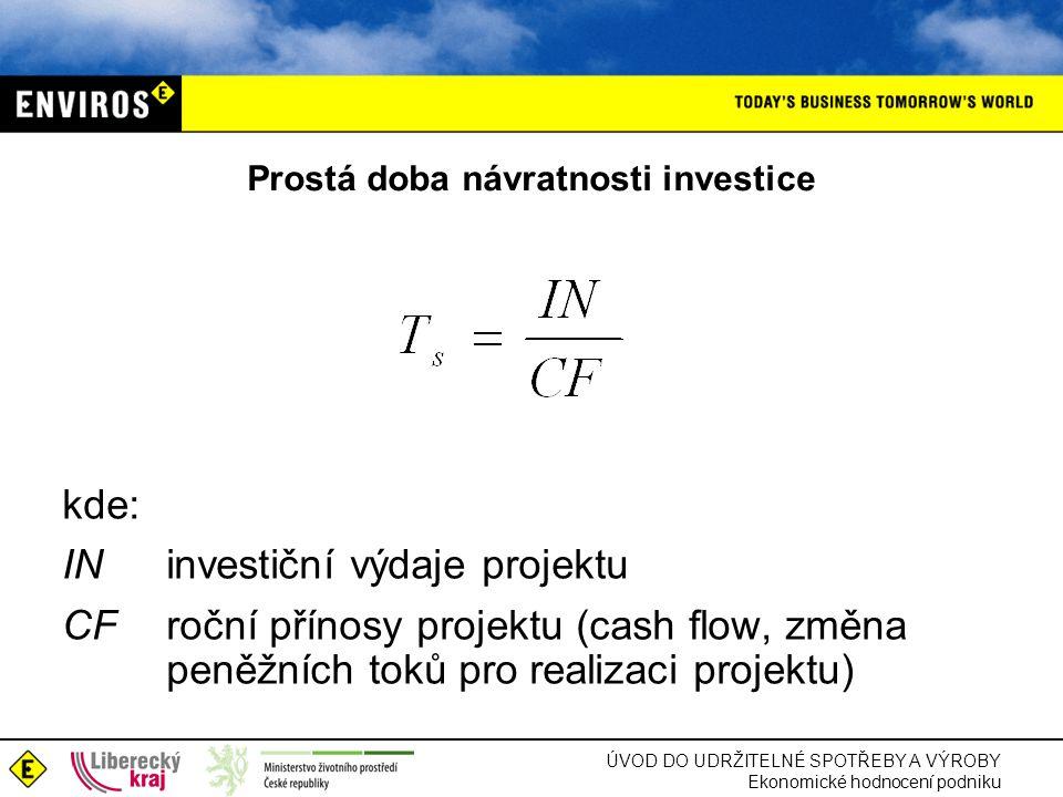 ÚVOD DO UDRŽITELNÉ SPOTŘEBY A VÝROBY Ekonomické hodnocení podniku Prostá doba návratnosti investice kde: IN investiční výdaje projektu CFroční přínosy projektu (cash flow, změna peněžních toků pro realizaci projektu)