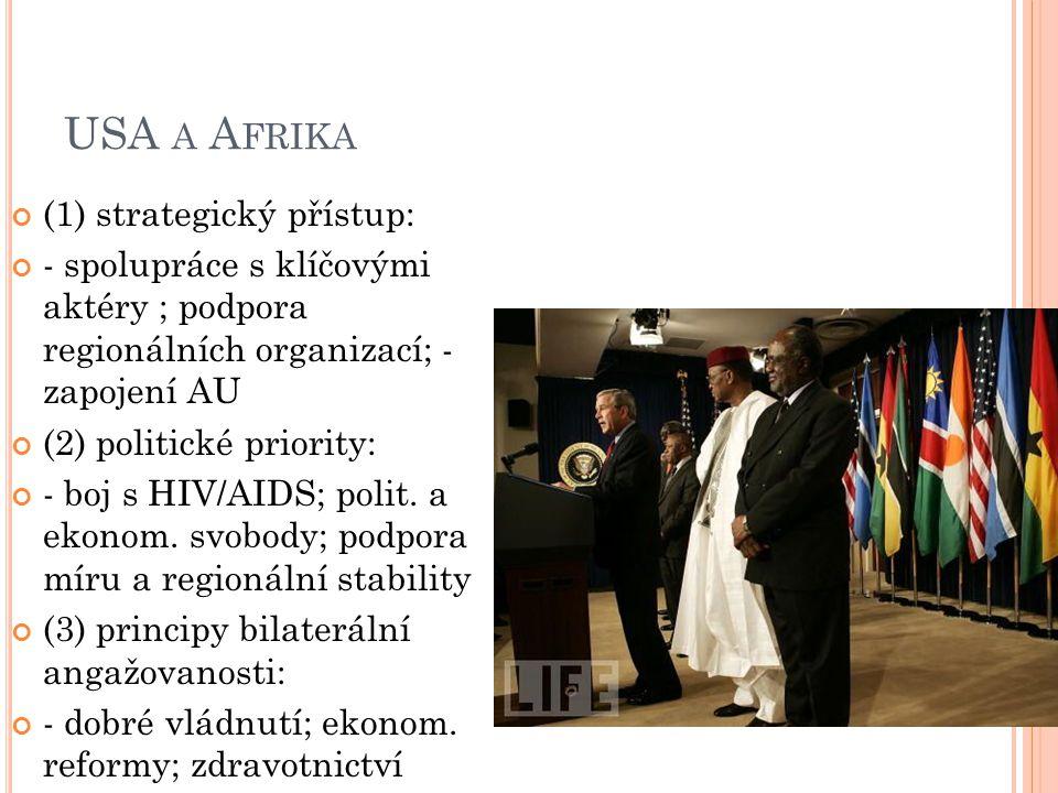 USA A A FRIKA (1) strategický přístup: - spolupráce s klíčovými aktéry ; podpora regionálních organizací; - zapojení AU (2) politické priority: - boj
