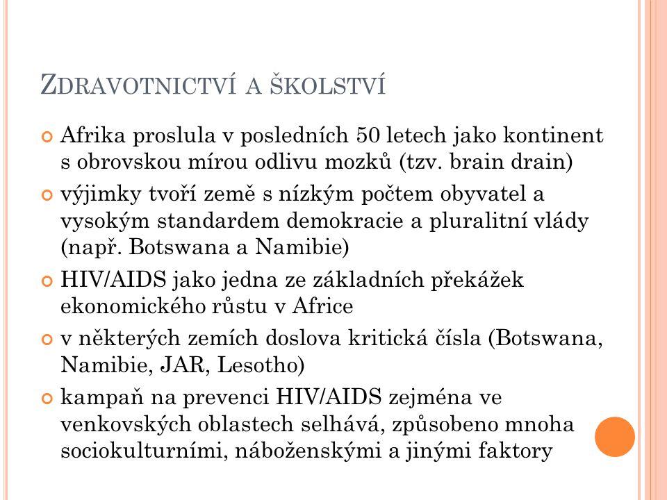 Z DRAVOTNICTVÍ A ŠKOLSTVÍ Afrika proslula v posledních 50 letech jako kontinent s obrovskou mírou odlivu mozků (tzv. brain drain) výjimky tvoří země s