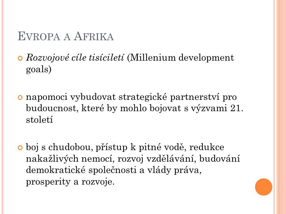 E VROPA A A FRIKA Rozvojové cíle tisíciletí (Millenium development goals) napomoci vybudovat strategické partnerství pro budoucnost, které by mohlo bojovat s výzvami 21.