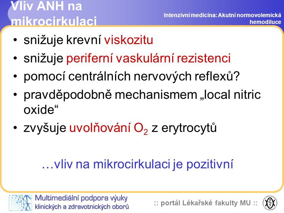 :: portál Lékařské fakulty MU :: Vliv ANH na mikrocirkulaci snižuje krevní viskozitu snižuje periferní vaskulární rezistenci pomocí centrálních nervových reflexů.