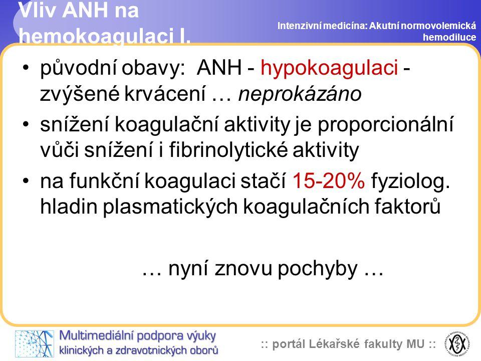 :: portál Lékařské fakulty MU :: Vliv ANH na hemokoagulaci I.