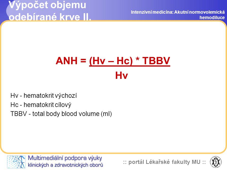 :: portál Lékařské fakulty MU :: Výpočet objemu odebírané krve II.