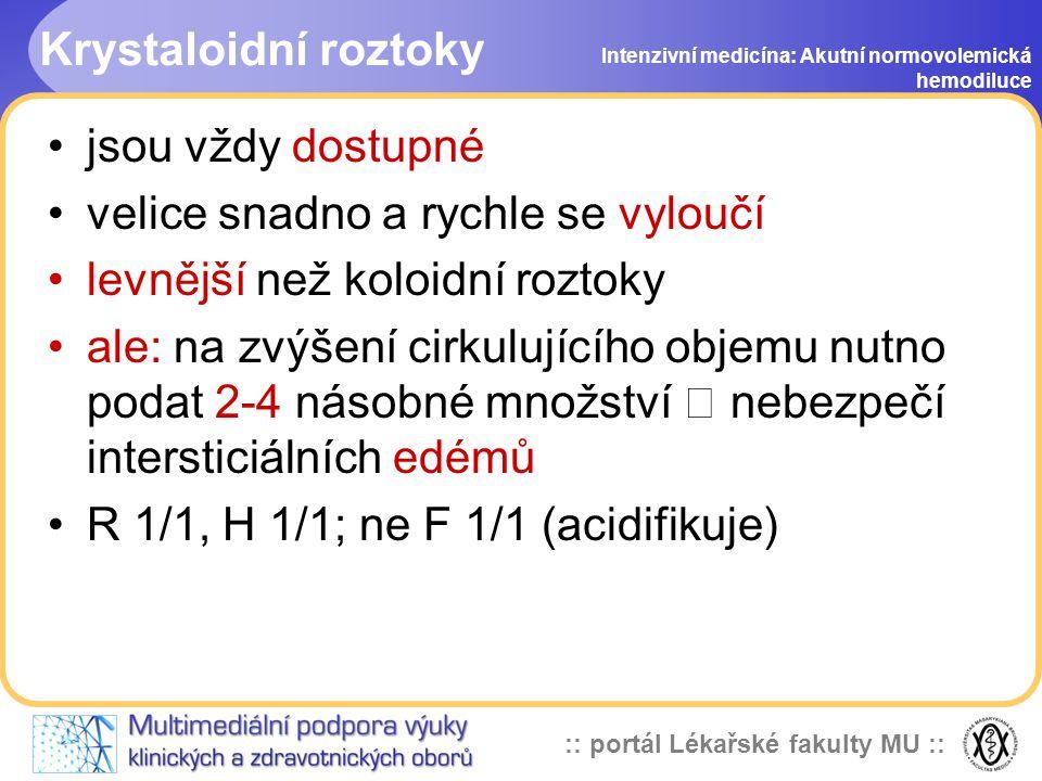 :: portál Lékařské fakulty MU :: Krystaloidní roztoky jsou vždy dostupné velice snadno a rychle se vyloučí levnější než koloidní roztoky ale: na zvýšení cirkulujícího objemu nutno podat 2-4 násobné množství  nebezpečí intersticiálních edémů R 1/1, H 1/1; ne F 1/1 (acidifikuje) Intenzivní medicína: Akutní normovolemická hemodiluce