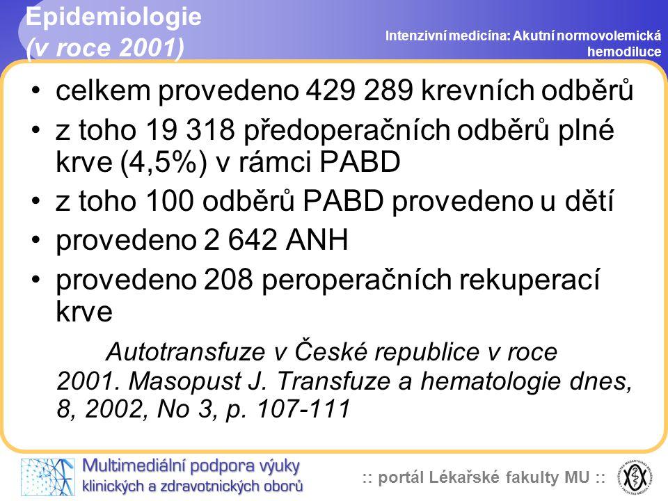 :: portál Lékařské fakulty MU :: Epidemiologie (v roce 2001) celkem provedeno 429 289 krevních odběrů z toho 19 318 předoperačních odběrů plné krve (4,5%) v rámci PABD z toho 100 odběrů PABD provedeno u dětí provedeno 2 642 ANH provedeno 208 peroperačních rekuperací krve Autotransfuze v České republice v roce 2001.