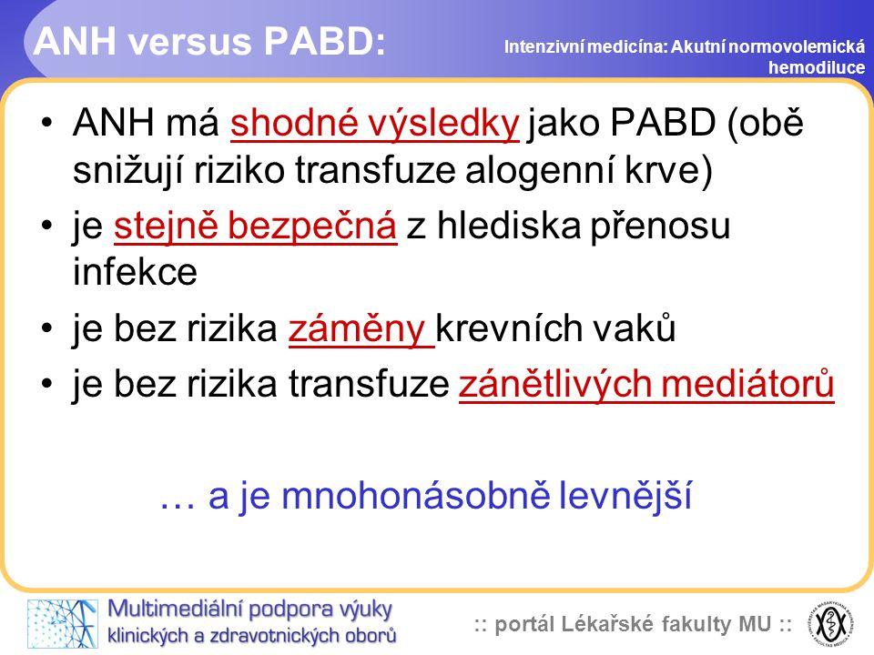 :: portál Lékařské fakulty MU :: ANH versus PABD: ANH má shodné výsledky jako PABD (obě snižují riziko transfuze alogenní krve) je stejně bezpečná z hlediska přenosu infekce je bez rizika záměny krevních vaků je bez rizika transfuze zánětlivých mediátorů … a je mnohonásobně levnější Intenzivní medicína: Akutní normovolemická hemodiluce