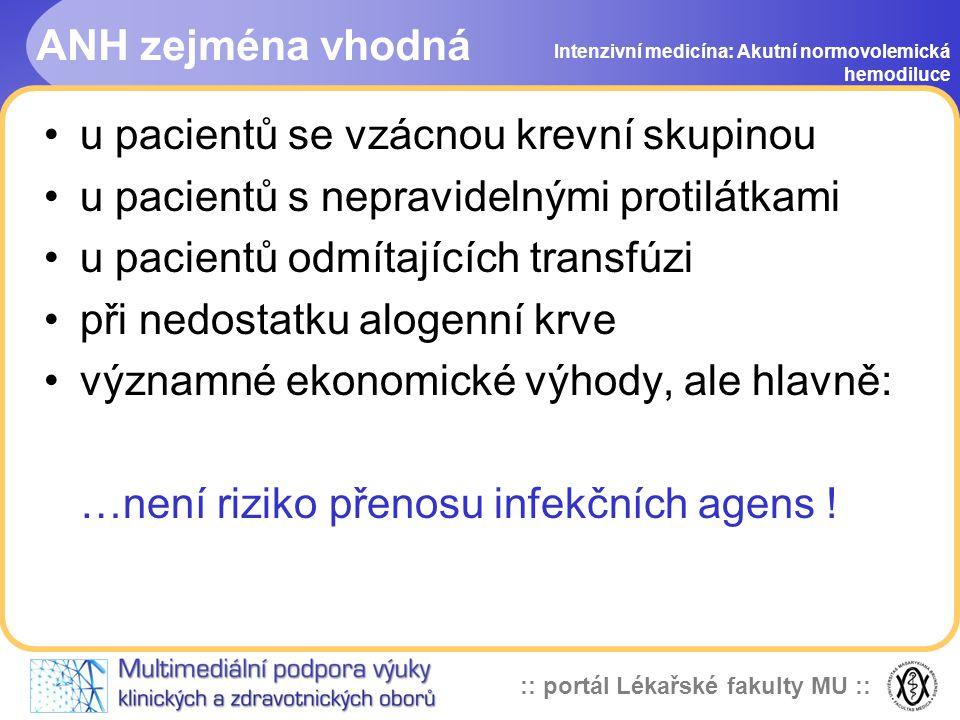 :: portál Lékařské fakulty MU :: ANH zejména vhodná u pacientů se vzácnou krevní skupinou u pacientů s nepravidelnými protilátkami u pacientů odmítajících transfúzi při nedostatku alogenní krve významné ekonomické výhody, ale hlavně: …není riziko přenosu infekčních agens .