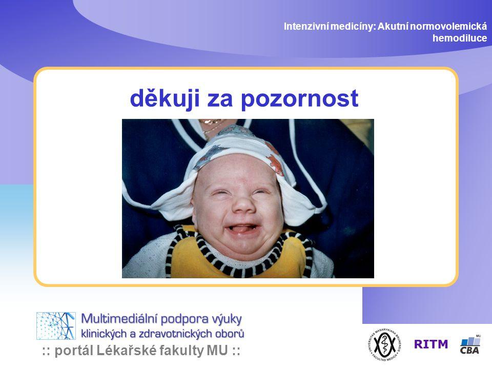 :: portál Lékařské fakulty MU :: děkuji za pozornost Intenzivní medicíny: Akutní normovolemická hemodiluce