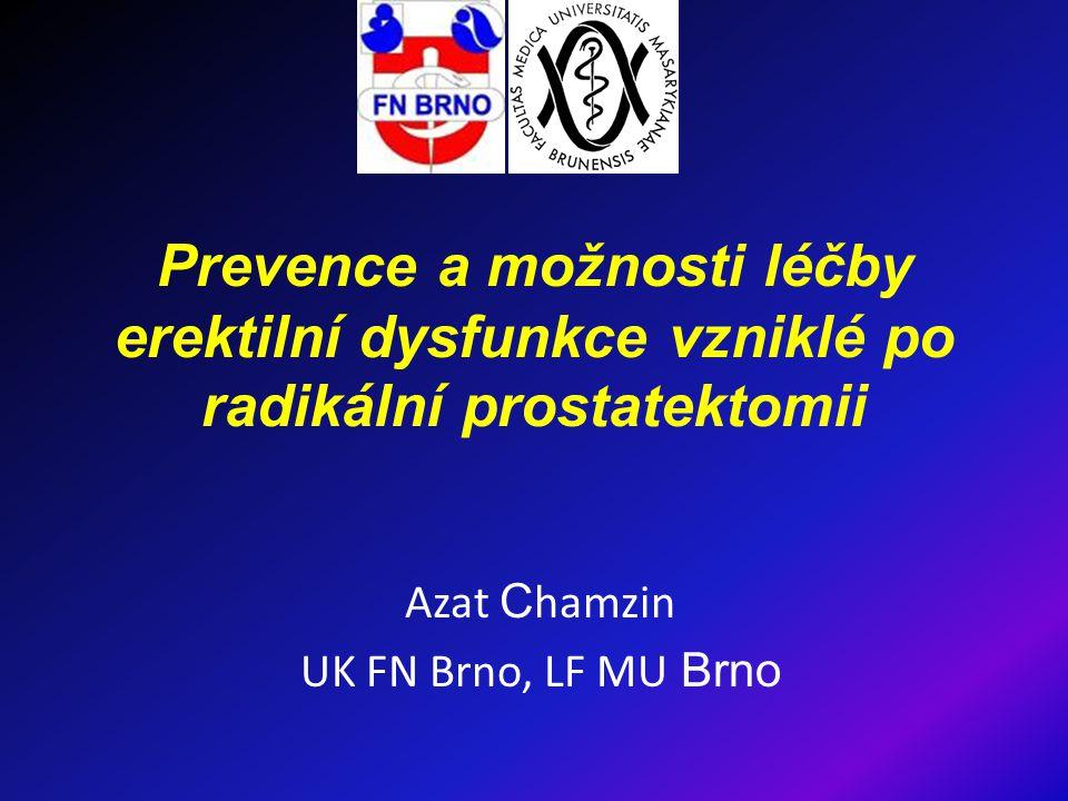 Úvod ↑ výskytu karcinomu prostaty (KP) ↑ Dg lokalizovaného KP i u mladých mužů ↑ počtu radikálních prostatektomií (RP) erektilní dysfunkce (ED) po RP- častý problém snaha zachovat kvalitu sexuálního života návrat erektilní funkce po RP se šetřením nervově- cévních svazků (n-c sv.) u 16-85% pac.