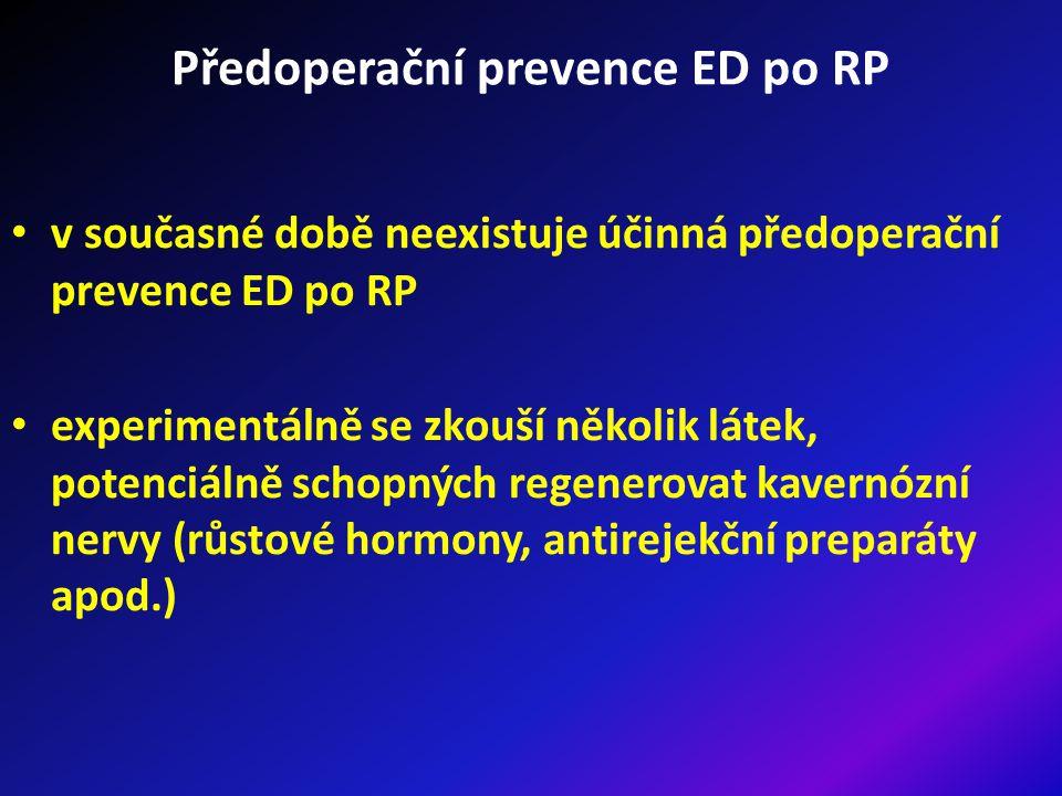 Předoperační prevence ED po RP v současné době neexistuje účinná předoperační prevence ED po RP experimentálně se zkouší několik látek, potenciálně schopných regenerovat kavernózní nervy (růstové hormony, antirejekční preparáty apod.)