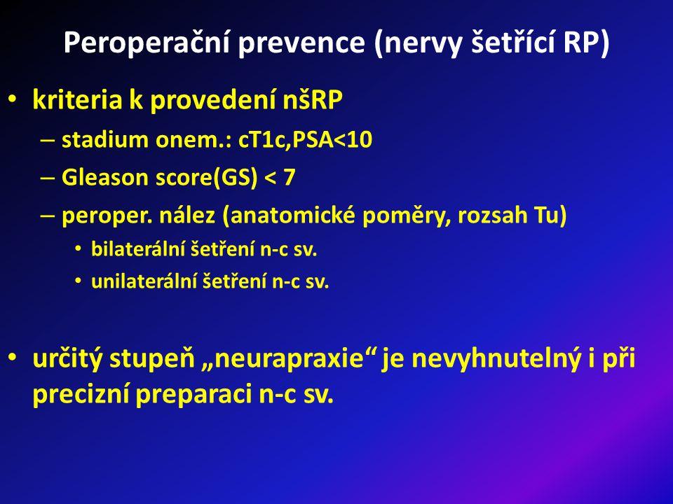 Peroperační prevence (nervy šetřící RP) kriteria k provedení nšRP – stadium onem.: cT1c,PSA<10 – Gleason score(GS) < 7 – peroper.
