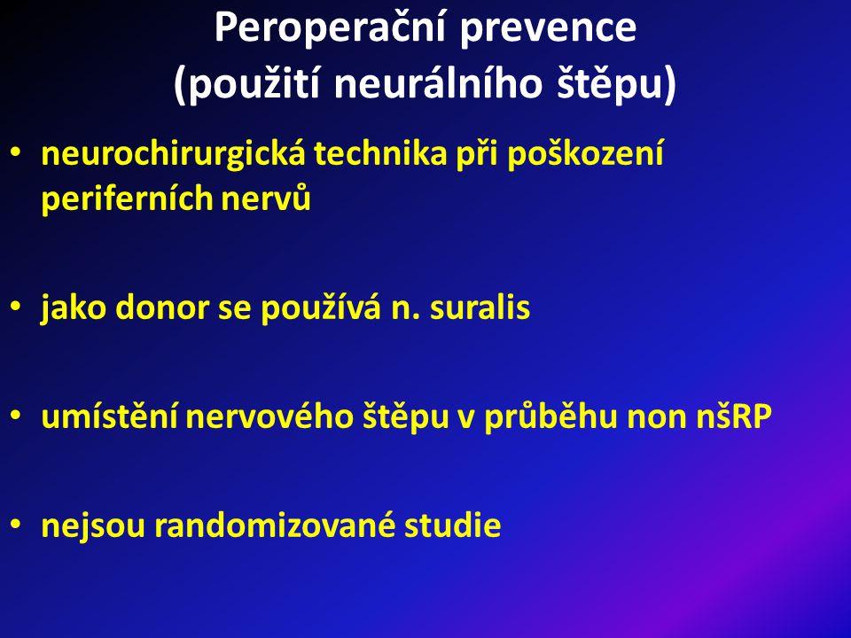 Peroperační prevence ED (závěr) precizní technika provedení nervy šetřící (buď bilaterálně či unilaterálně) operace je v současné době nejúčinnější prevencí vzniku ED po radikální prostatektomii