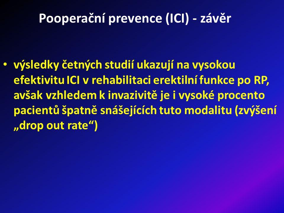 """Pooperační prevence (ICI) - závěr výsledky četných studií ukazují na vysokou efektivitu ICI v rehabilitaci erektilní funkce po RP, avšak vzhledem k invazivitě je i vysoké procento pacientů špatně snášejících tuto modalitu (zvýšení """"drop out rate )"""