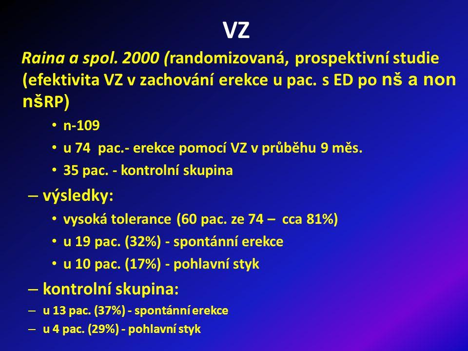 VZ Raina a spol.2000 (randomizovaná, prospektivní studie (efektivita VZ v zachování erekce u pac.