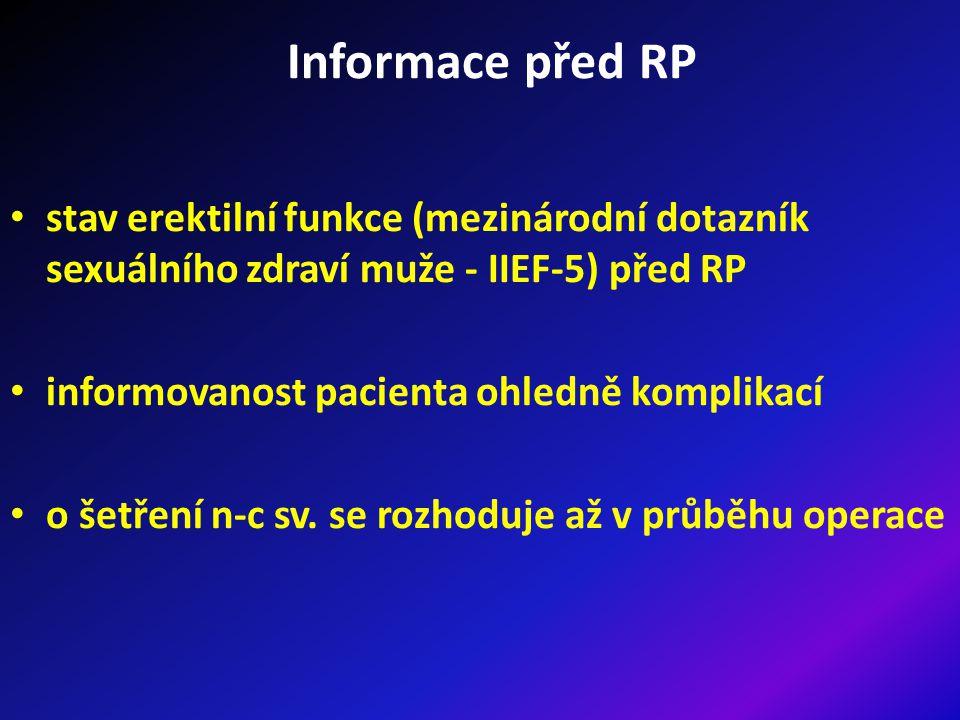 Informace před RP stav erektilní funkce (mezinárodní dotazník sexuálního zdraví muže - IIEF-5) před RP informovanost pacienta ohledně komplikací o šetření n-c sv.