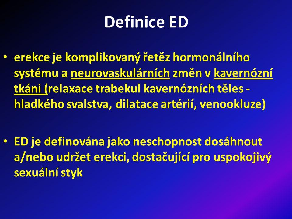 Definice ED erekce je komplikovaný řetěz hormonálního systému a neurovaskulárních změn v kavernózní tkáni (relaxace trabekul kavernózních těles - hladkého svalstva, dilatace artérií, venookluze) ED je definována jako neschopnost dosáhnout a/nebo udržet erekci, dostačující pro uspokojivý sexuální styk