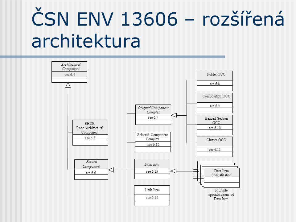 ČSN ENV 13606 – rozšířená architektura Multiple specialisations of Data Item Architectural Component Record Component Link Item Original Component Complex Selected Component Complex see 6.4 Data Item see 6.13 see 6.12 see 6.7 EHCR Root Architectural Component see 6.5 see 6.6 see 6.14 Folder OCC see 6.8 Composition OCC see 6.9 Headed Section OCC see 6.10 Cluster OCC see 6.11 Data Item Specialisation
