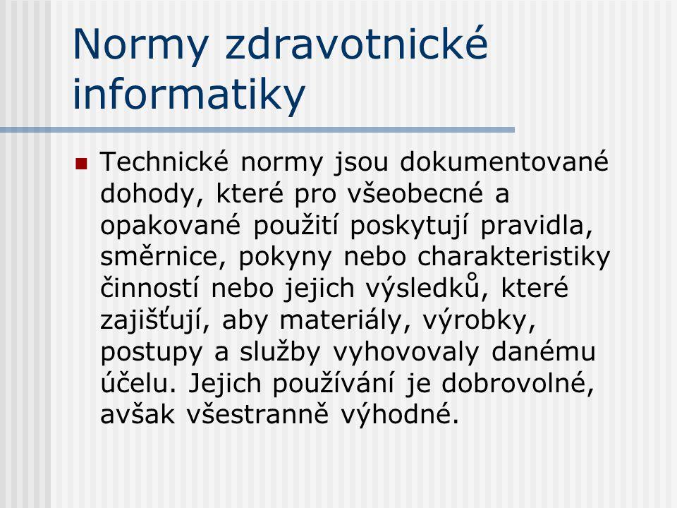 Kdo vytváří normy? ISO : TC215 CEN : TC251 ANSI : HL7, Snomed