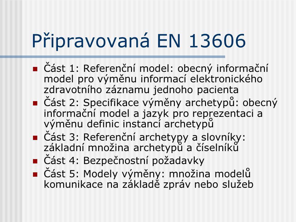 Připravovaná EN 13606 Část 1: Referenční model: obecný informační model pro výměnu informací elektronického zdravotního záznamu jednoho pacienta Část 2: Specifikace výměny archetypů: obecný informační model a jazyk pro reprezentaci a výměnu definic instancí archetypů Část 3: Referenční archetypy a slovníky: základní množina archetypů a číselníků Část 4: Bezpečnostní požadavky Část 5: Modely výměny: množina modelů komunikace na základě zpráv nebo služeb