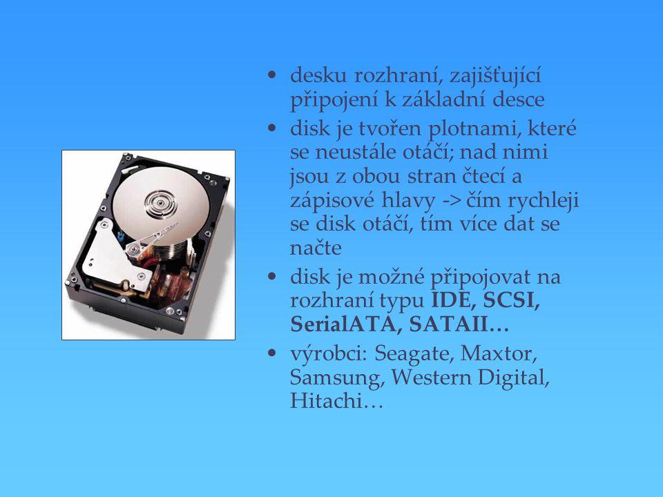 desku rozhraní, zajišťující připojení k základní desce disk je tvořen plotnami, které se neustále otáčí; nad nimi jsou z obou stran čtecí a zápisové h