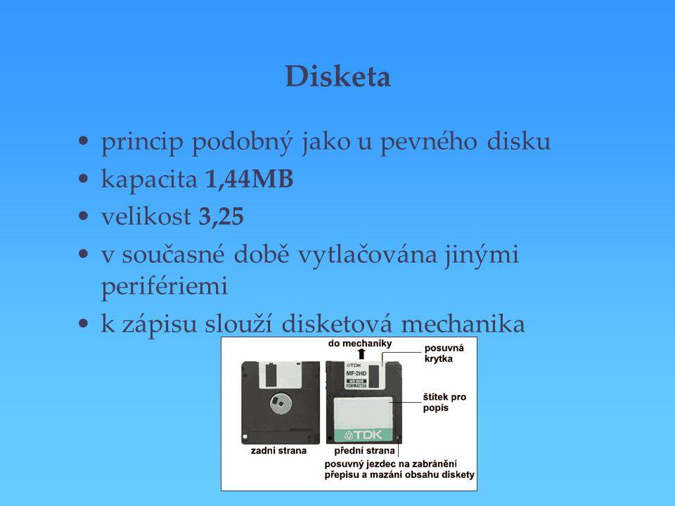 Disketa princip podobný jako u pevného disku kapacita 1,44MB velikost 3,25 v současné době vytlačována jinými perifériemi k zápisu slouží disketová me