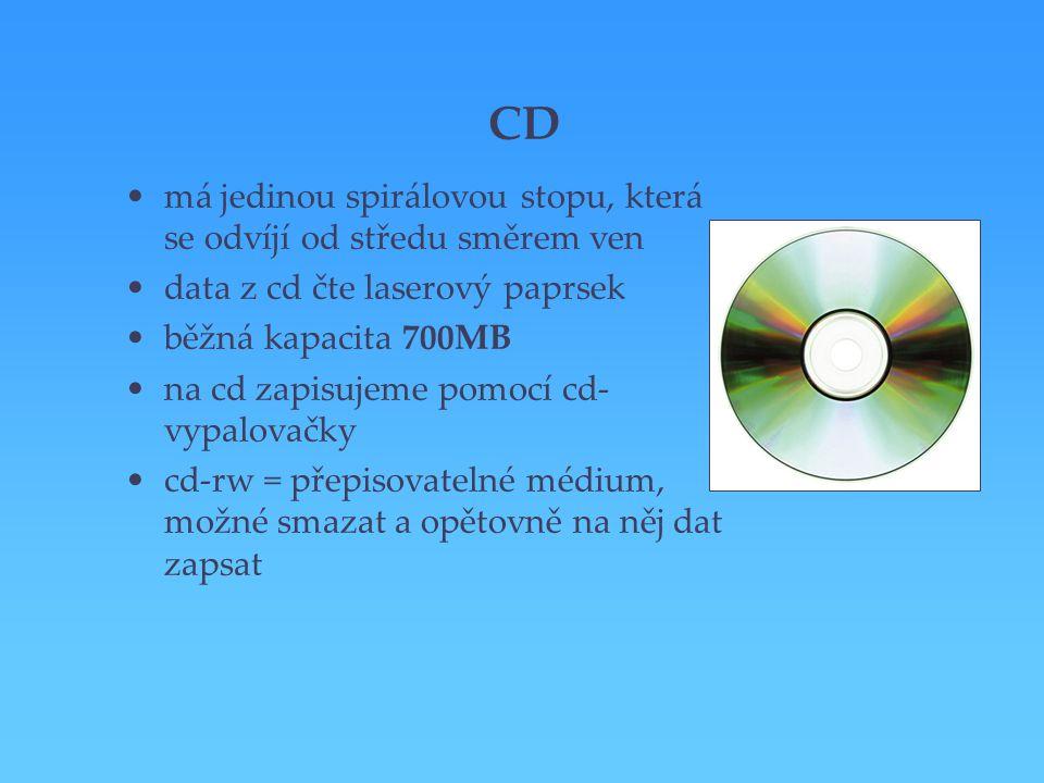 CD má jedinou spirálovou stopu, která se odvíjí od středu směrem ven data z cd čte laserový paprsek běžná kapacita 700MB na cd zapisujeme pomocí cd- v
