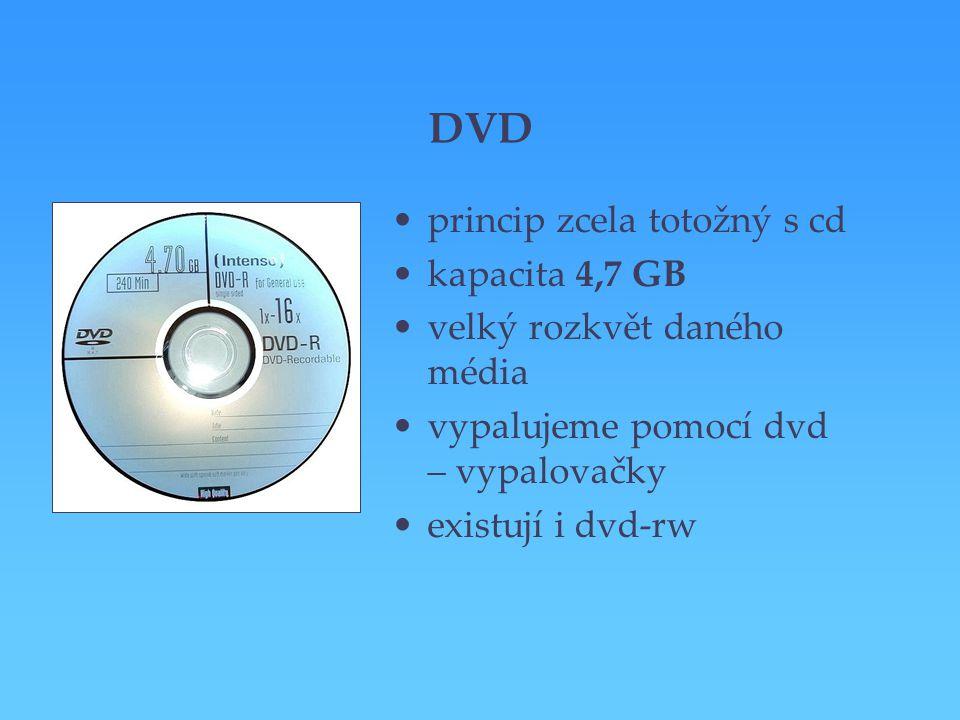 DVD princip zcela totožný s cd kapacita 4,7 GB velký rozkvět daného média vypalujeme pomocí dvd – vypalovačky existují i dvd-rw
