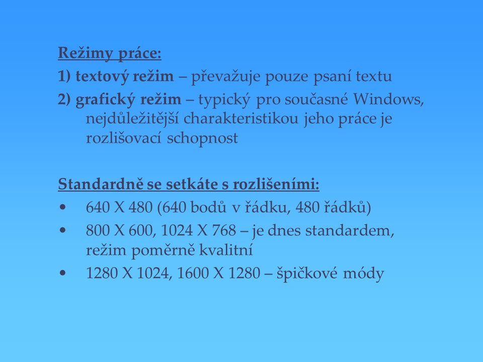 Režimy práce: 1) textový režim – převažuje pouze psaní textu 2) grafický režim – typický pro současné Windows, nejdůležitější charakteristikou jeho pr