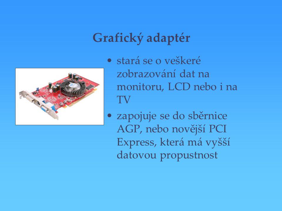 Grafický adaptér stará se o veškeré zobrazování dat na monitoru, LCD nebo i na TV zapojuje se do sběrnice AGP, nebo novější PCI Express, která má vyšš