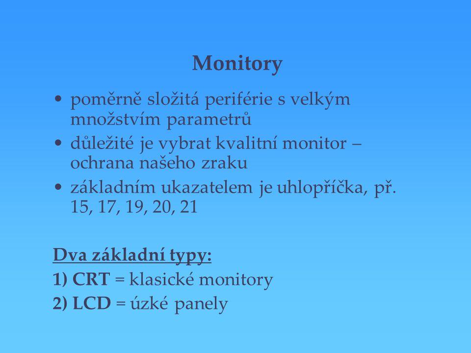 Monitory poměrně složitá periférie s velkým množstvím parametrů důležité je vybrat kvalitní monitor – ochrana našeho zraku základním ukazatelem je uhl