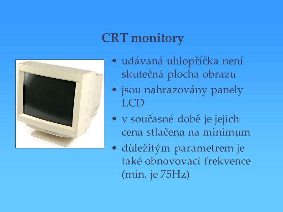 CRT monitory udávaná uhlopříčka není skutečná plocha obrazu jsou nahrazovány panely LCD v současné době je jejich cena stlačena na minimum důležitým p