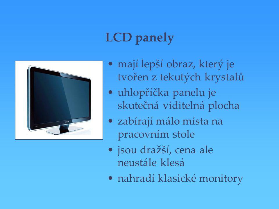 LCD panely mají lepší obraz, který je tvořen z tekutých krystalů uhlopříčka panelu je skutečná viditelná plocha zabírají málo místa na pracovním stole