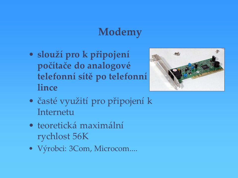 Modemy slouží pro k připojení počítače do analogové telefonní sítě po telefonní lince časté využití pro připojení k Internetu teoretická maximální ryc