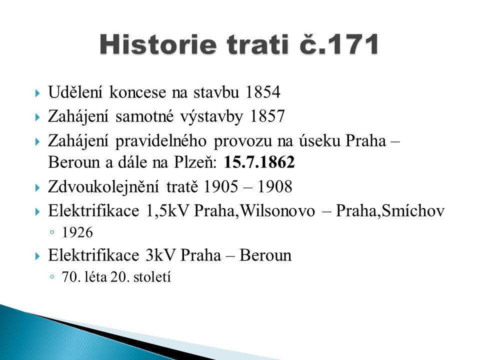  Udělení koncese na stavbu 1854  Zahájení samotné výstavby 1857  Zahájení pravidelného provozu na úseku Praha – Beroun a dále na Plzeň: 15.7.1862 