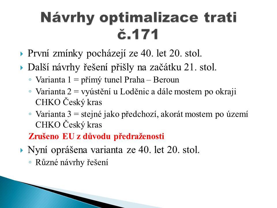  První zmínky pocházejí ze 40. let 20. stol.  Další návrhy řešení přišly na začátku 21. stol. ◦ Varianta 1 = přímý tunel Praha – Beroun ◦ Varianta 2