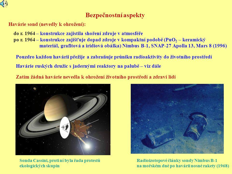 Bezpečnostní aspekty Radioizotopové články sondy Nimbus B-1 na mořském dně po havárii nosné rakety (1968) Havárie sond (nevedly k ohrožení): do r. 196