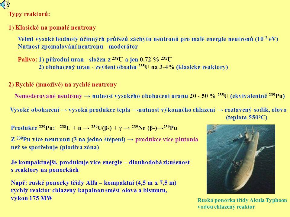 Typy reaktorů: 1) Klasické na pomalé neutrony 2) Rychlé (množivé) na rychlé neutrony Nemoderované neutrony → nutnost vysokého obohacení uranu 20 - 50