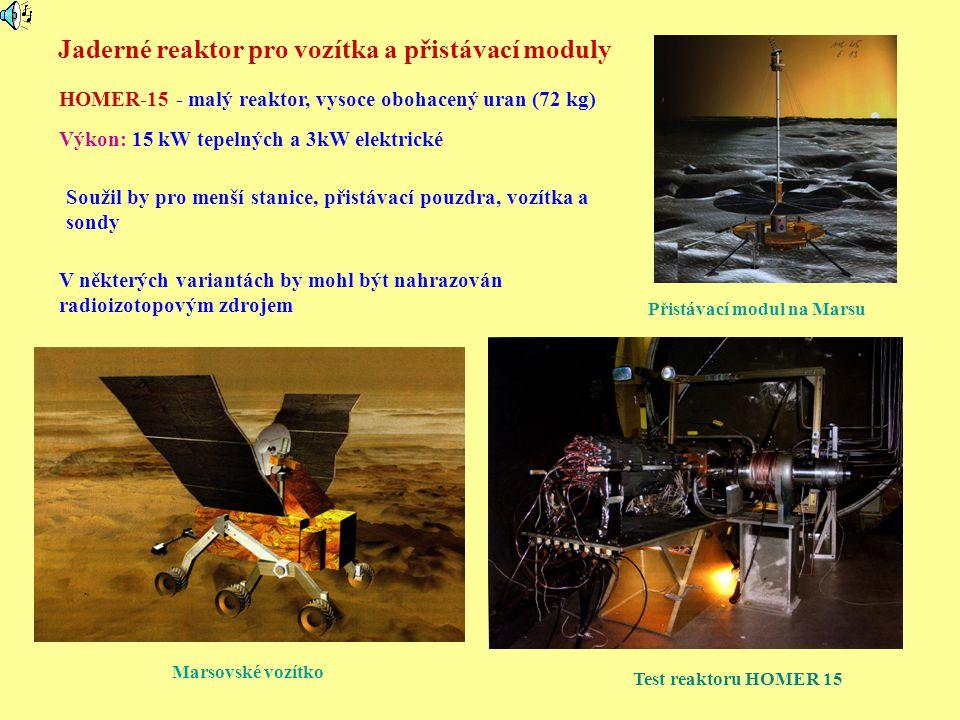 Jaderné reaktor pro vozítka a přistávací moduly HOMER-15 - malý reaktor, vysoce obohacený uran (72 kg) Marsovské vozítko Výkon: 15 kW tepelných a 3kW
