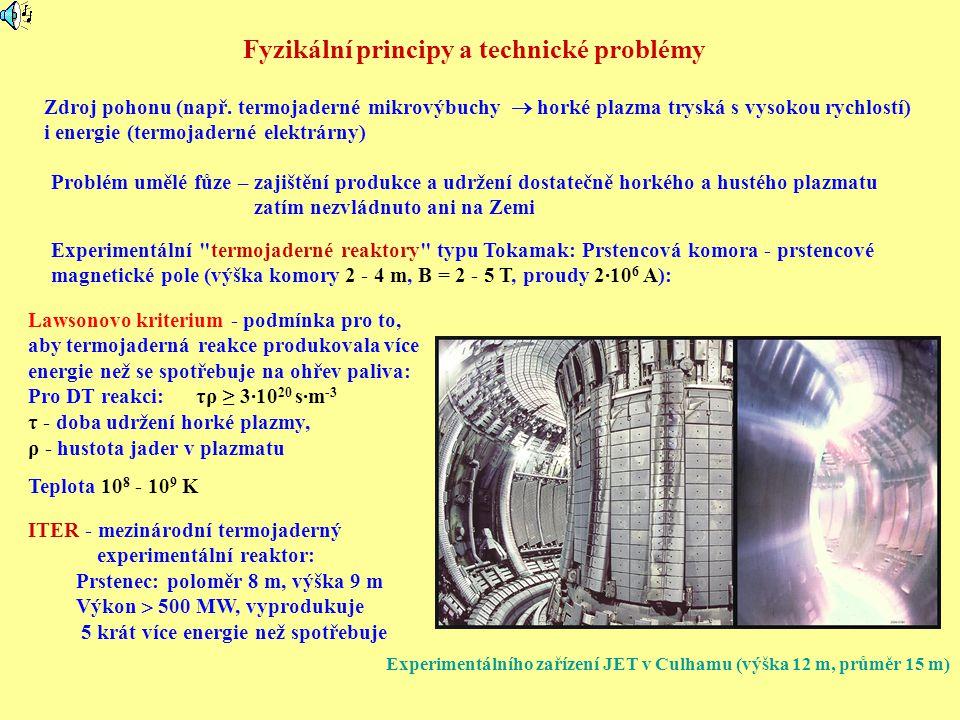 Fyzikální principy a technické problémy Zdroj pohonu (např. termojaderné mikrovýbuchy  horké plazma tryská s vysokou rychlostí) i energie (termojader