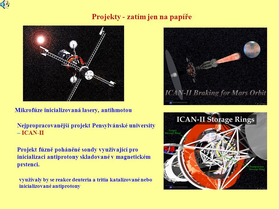 Projekty - zatím jen na papíře Mikrofúze inicializovaná lasery, antihmotou Projekt fúzně poháněné sondy využívající pro inicializaci antiprotony sklad