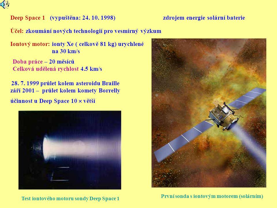 Test iontového motoru sondy Deep Space 1 První sonda s iontovým motorem (solárním) Deep Space 1 (vypuštěna: 24. 10. 1998) Účel: zkoumání nových techno