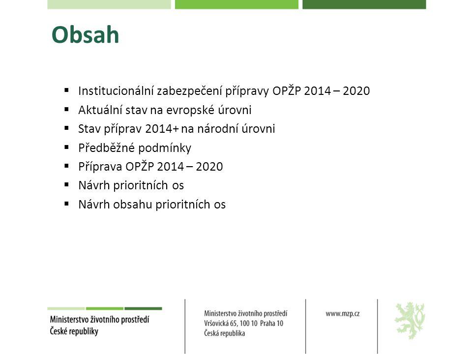 Obsah  Institucionální zabezpečení přípravy OPŽP 2014 – 2020  Aktuální stav na evropské úrovni  Stav příprav 2014+ na národní úrovni  Předběžné podmínky  Příprava OPŽP 2014 – 2020  Návrh prioritních os  Návrh obsahu prioritních os