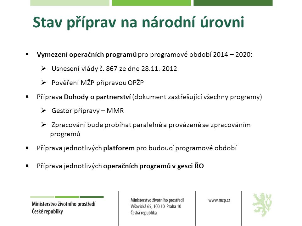 Stav příprav na národní úrovni  Vymezení operačních programů pro programové období 2014 – 2020:  Usnesení vlády č.